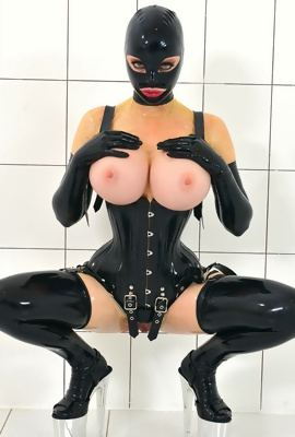 Latex and mask fetishist, this scene is for you