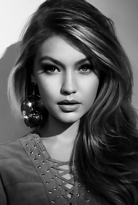 Gigi Hadid in black & white
