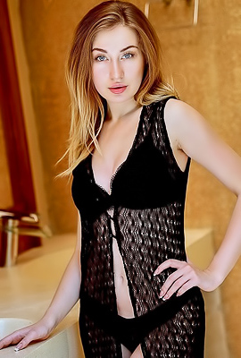 Young And Horny Augustina In Black Lingerie