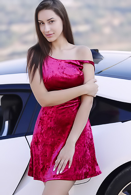 Angelina Socho Shows Big Natural Breasts Near Sport Car
