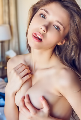 Mila Azul Getting Naked And Thrusting Her Fingers Into Her Shaved Pussy