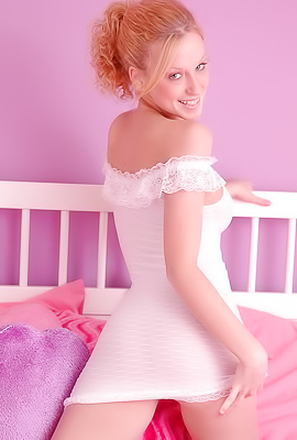 Lovely young Lucky teases in erotic wedding dress